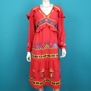 ASOS 1970's Embroidered Slavic Midi Dress / (NWT)